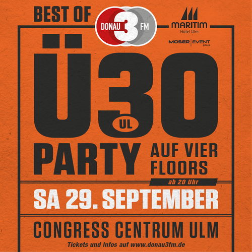 Tickets kaufen für BEST OF DONAU 3 FM Ü30 Party im CCU am 29.09.2018